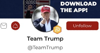 Donald Trump's picture on his Parler profile, with the words