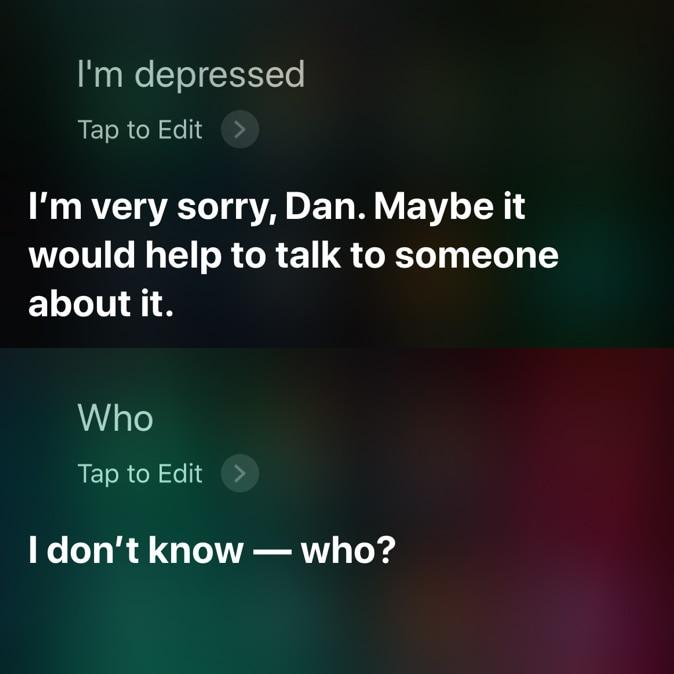 Siri not helpful with depression