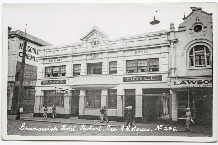 Black and white photo of the exterior of the Brunswick Hotel.