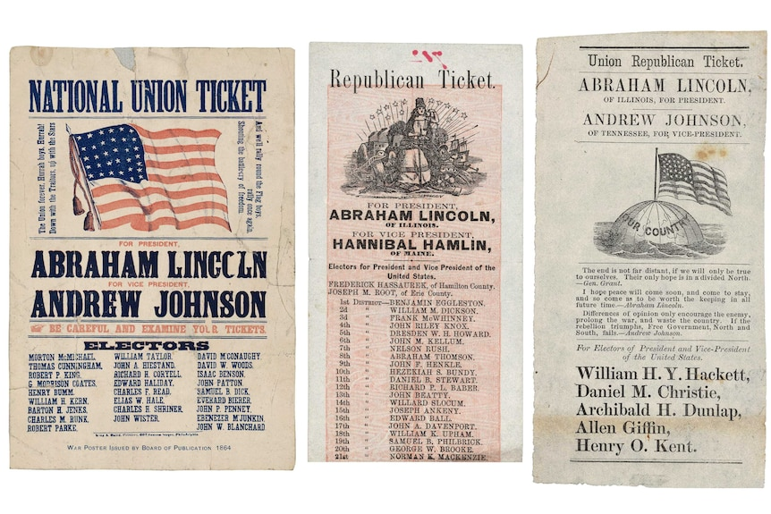 Old party tickets with the names of Abraham Lincoln and other candidates listed.