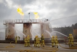 Country Fire Authority recruits graduation, fighting a fire