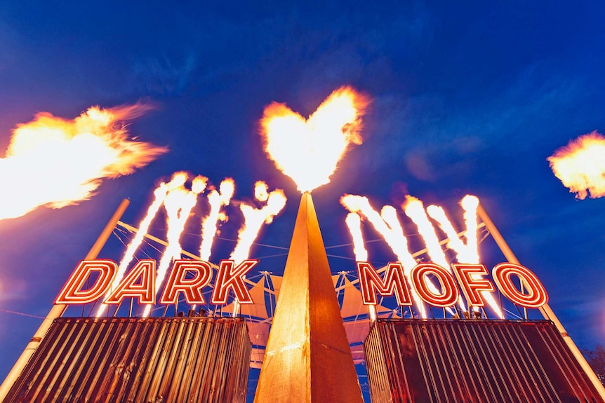 flames at the entrance to the Dark Mofo winter feast