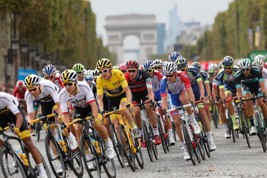 Tour de France riders ride together