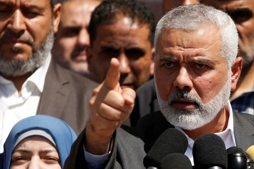 Hamas Chief Ismail Haniyeh points as he makes a speech in Gaza.