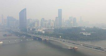 Haze over Brisbane.