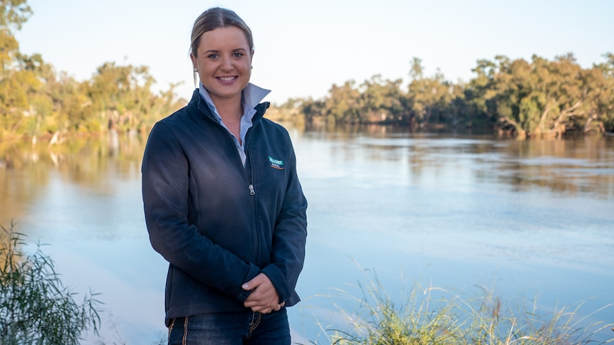 Walgett-based agronomist Lucy Powell on the banks of the Barwon River at Brewarrina, April 2021.