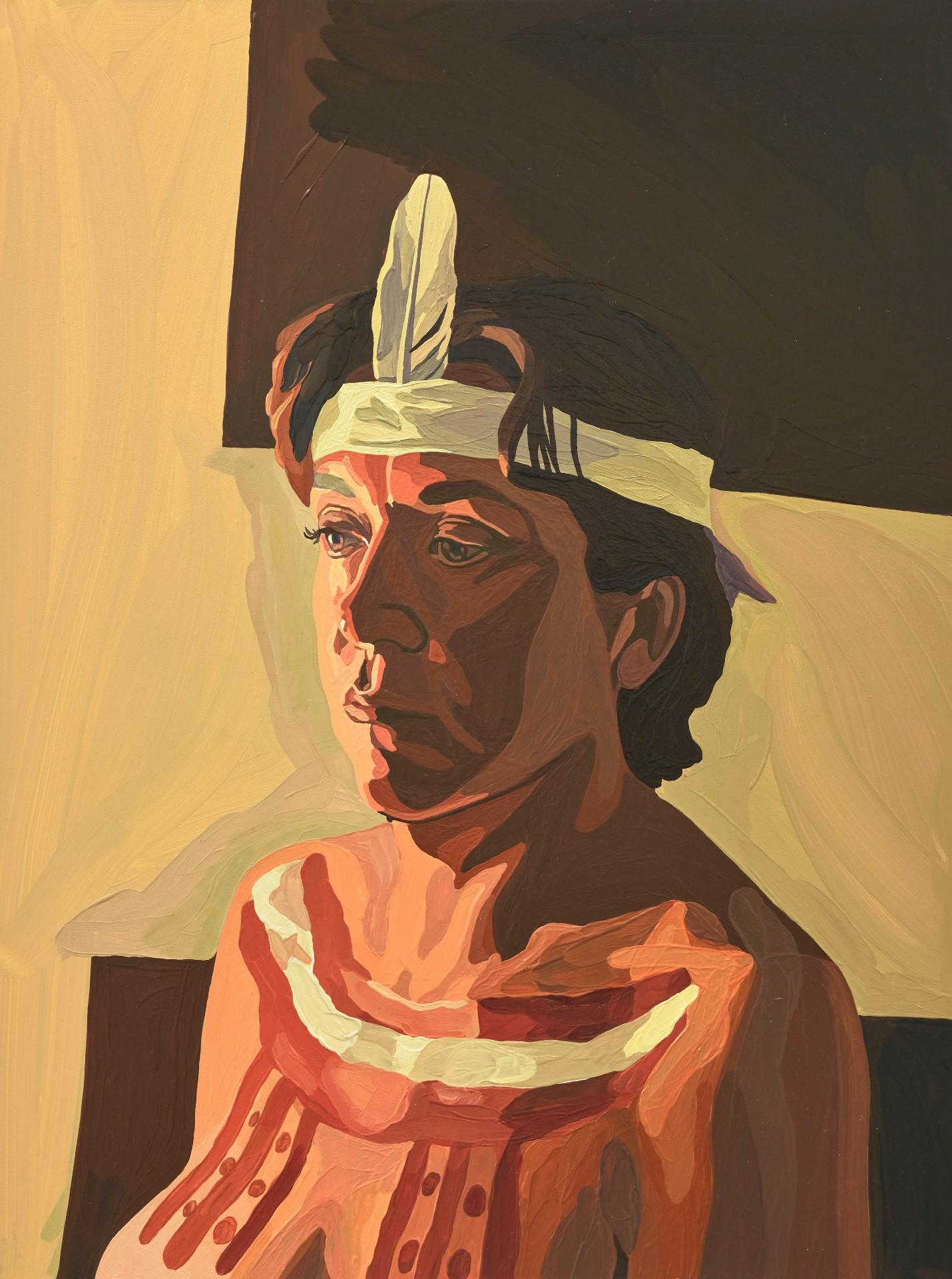A portrait of Rachel Perkins wearing traditional p