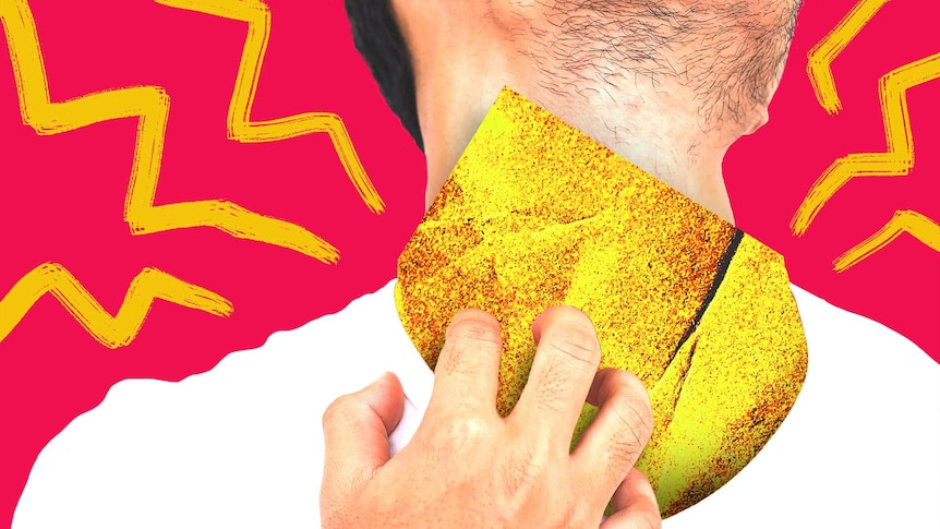 Illustration of man scratching at sandpaper on his neck in a story about how to treat dry, flaky skin from eczema or dermatitis.