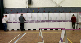 Voting booths on Super Saturday 2018.