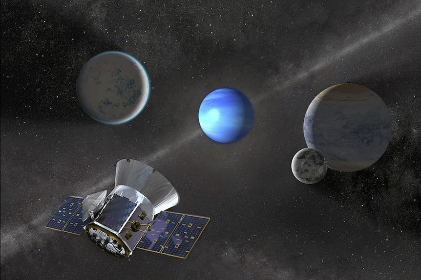 An illustration of a satellite aimed at four planets.