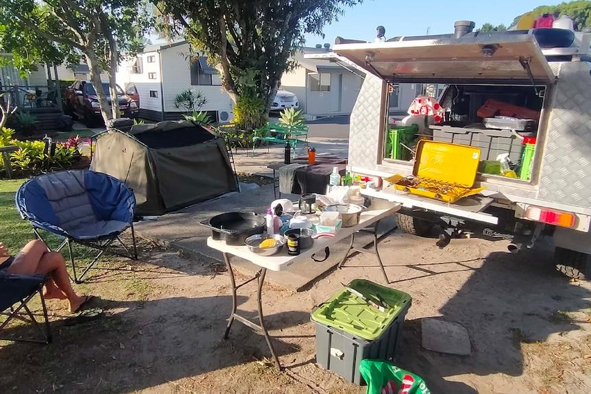 A campsite in a caravan park