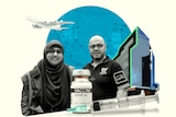 A black and white photo collage of a woman in a hijab and a man who smile behind a vaccine vial and and front of a blue circle.