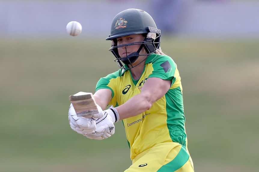 An Australian batter plays a shot to the leg side in the women's ODI against New Zealand.