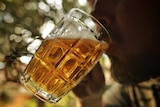 An anonymous man sips from a beer glass.