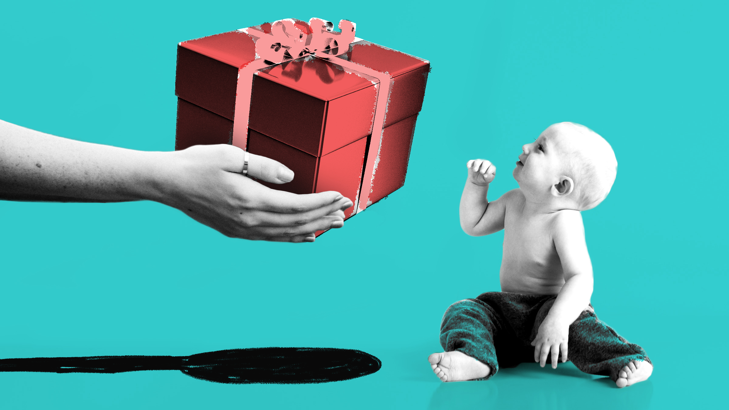 Outstretched hands gifting a big present to a baby to depict the difficulty of choosing the right baby shower gift.