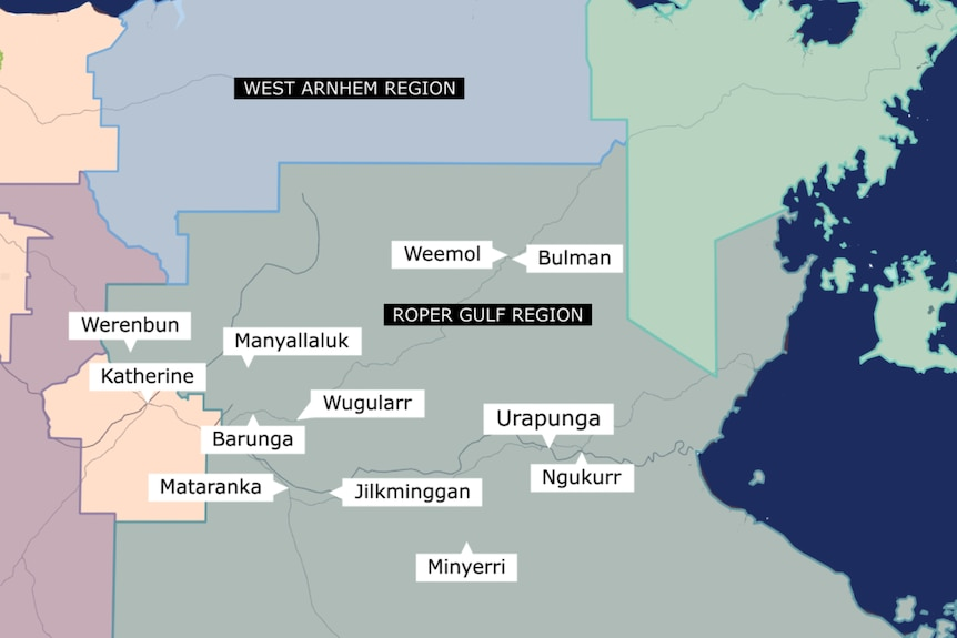 A map of the Katherine East region showing the names of communities where Sunrise Health Aboriginal Service delivers healthcare