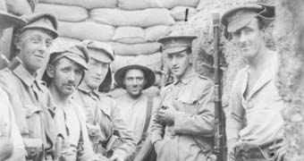 Anzac's in the front line trenches during WWI