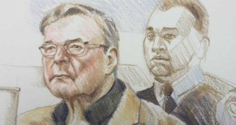 George Pell captured by a court artist today.
