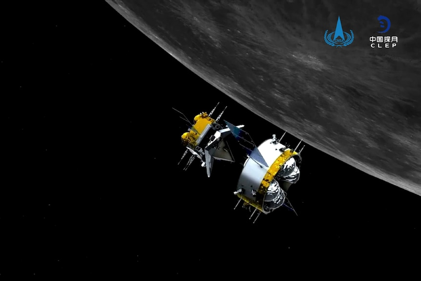 The Chang'e-5 probe separates from an ascender