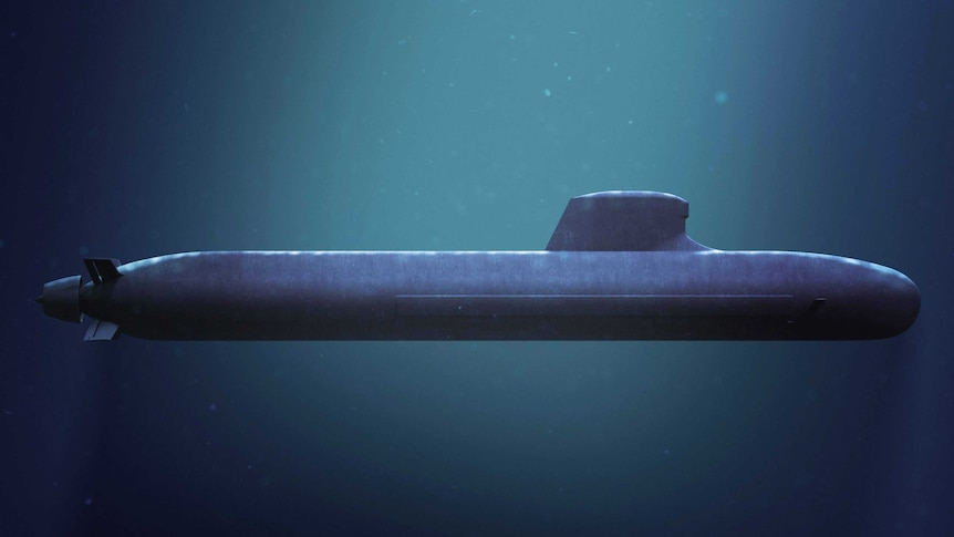 A concept design of the black submarine submerged in deep water.