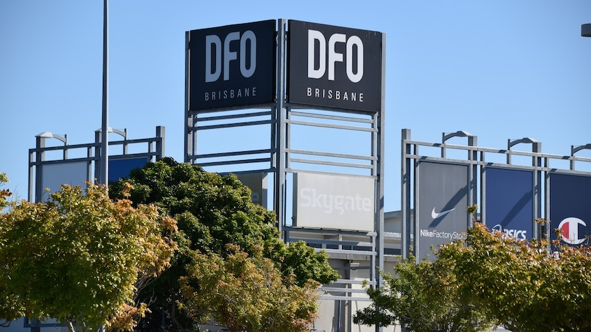 Signage for DFO shopping complex atSkygate precinct near Brisbane Airport.
