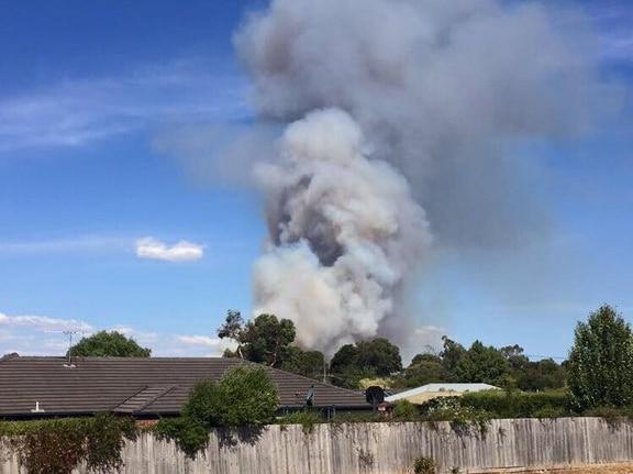 A fire burns at Crib Point