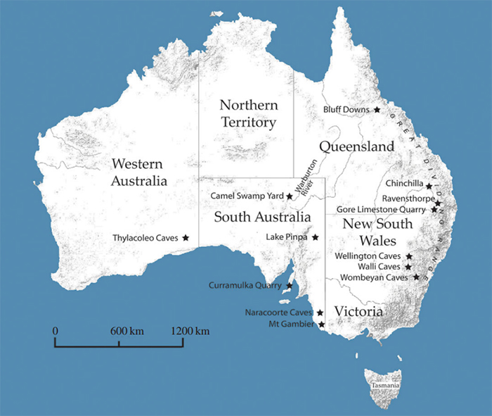 Map of megapode fossil sites in Australia