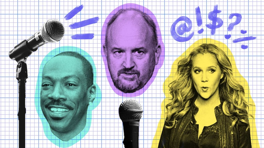 Illustrations of Eddie Murphy, Louis CK and Amy Schumer with microphones.