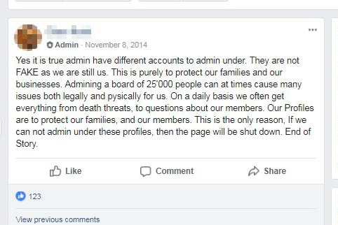 A Facebook community group admin explains their situation