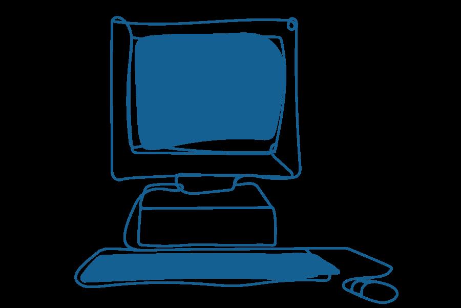 An illustration of a desktop computer.