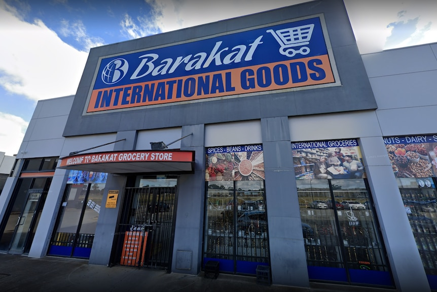 Store front with sign that reads Barakat International Goods