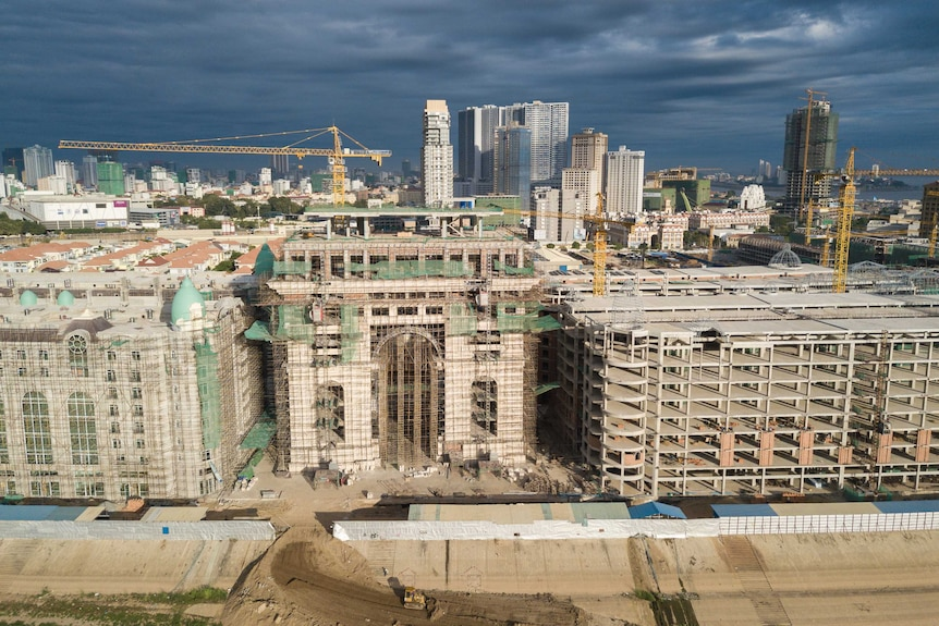 An aerial view of construction in Phnom Penh.