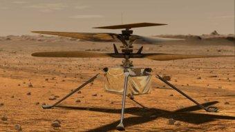 Impresión artística del helicóptero de creatividad de la NASA