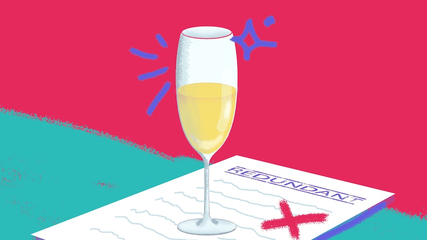 Illustration of champagne glass on redundancy papers for a story about redundancy and finding a new job