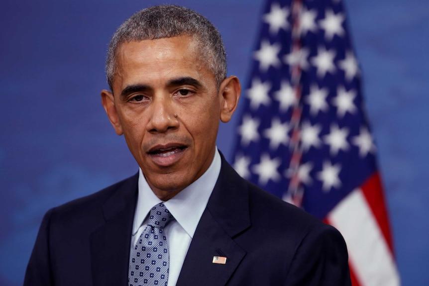 US President Barack Obama speaks during a news conference at the Pentagon in Arlington, Virginia.