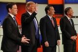 Republican U.S. presidential candidates (L-R) Marco Rubio, Donald Trump, Ted Cruz and John Kasich pose together