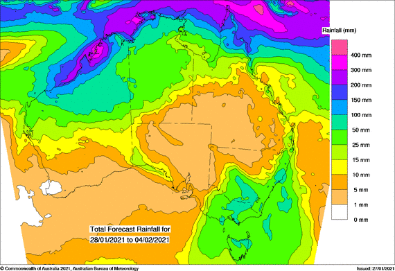 Map showing rain expected in south east and across the north
