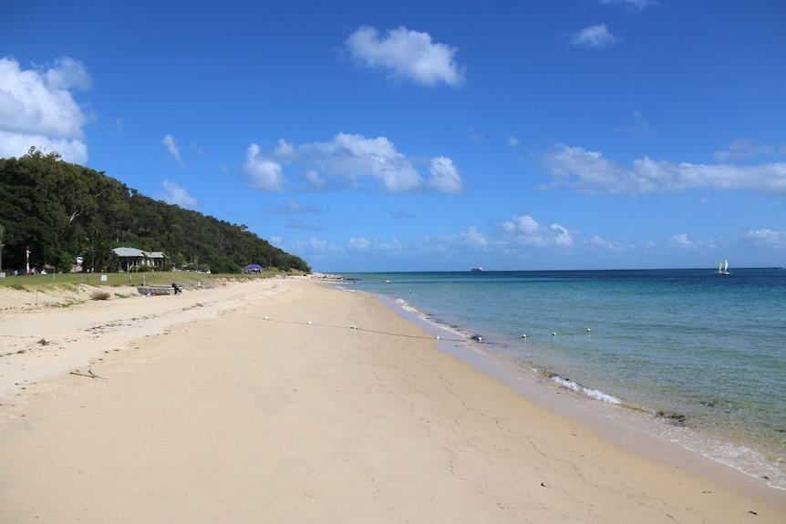 Beach in front Tangalooma Resort on Moreton Island off Brisbane on May 1, 2018.