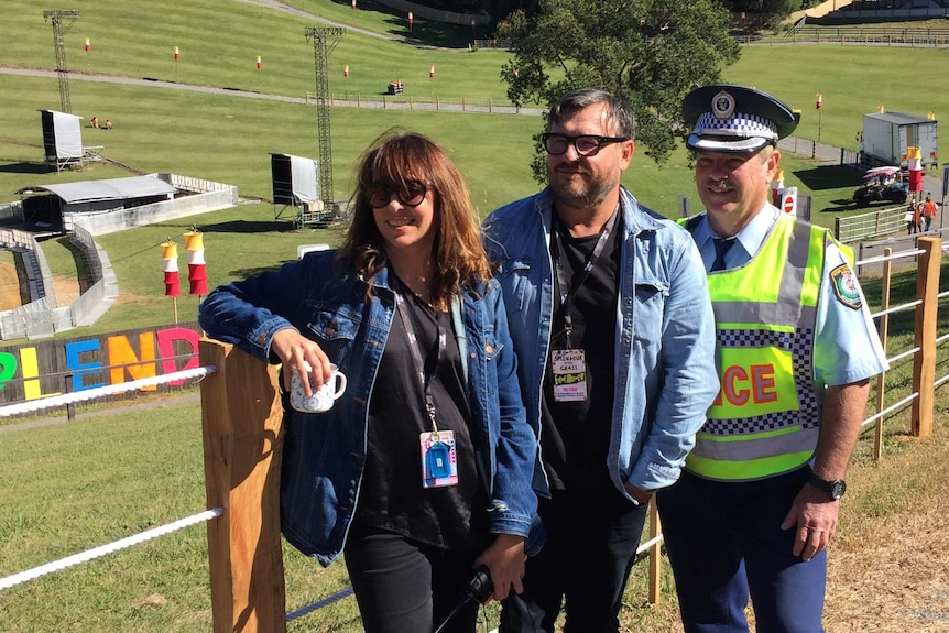 Splendour Festival organisers and co-producers, Jessica Ducroe and Paul Piticco, with NSW Police Chief Inspector Gary Cowan