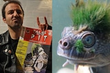 Punk man and turtle with moss mohawk.