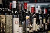 Bottles of wine in a bottle shop