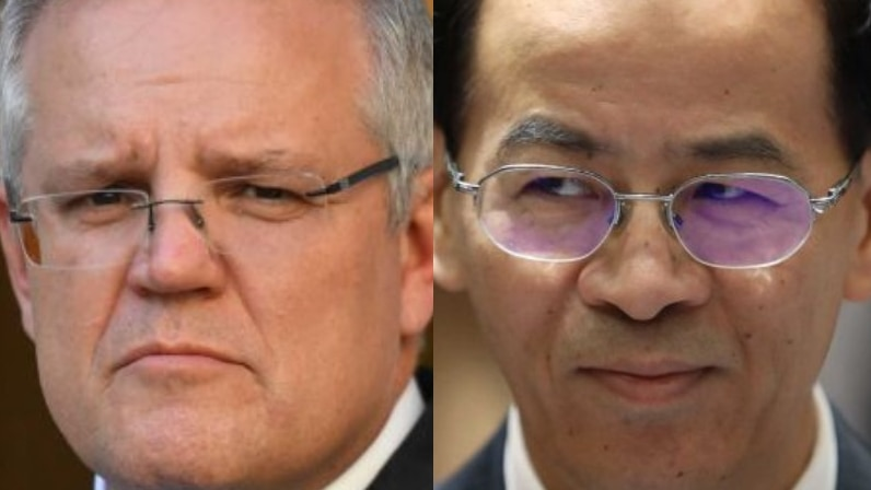 A composite image of Scott Morrison and Cheng Jingye