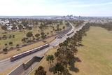 A concept picture of railway lines through the parklands