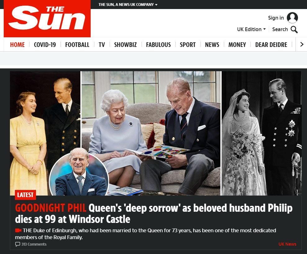 The Sun website after the death of Prince Philip.