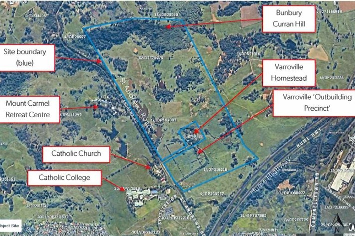 A map showing the location of significant sites around the planned cemetery.