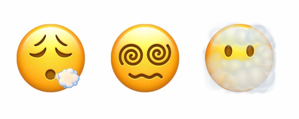 A face emoji with swirls for eyes and another with a cloud of smoke around it.