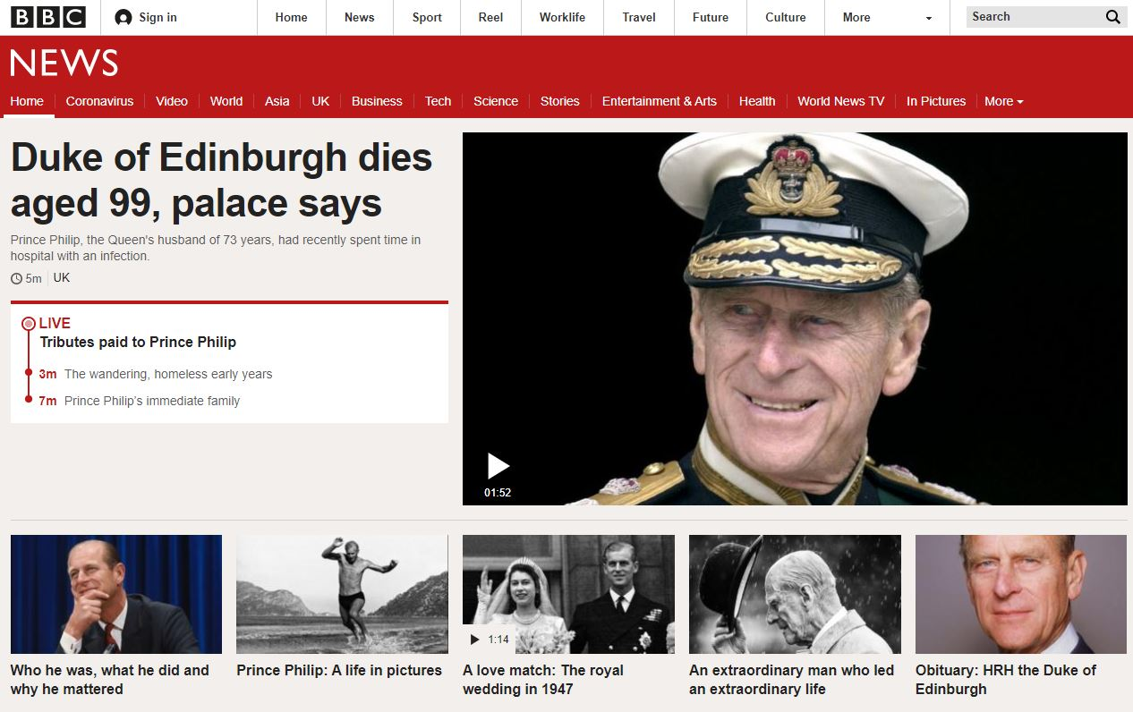 The BBC News home page after the death of Prince Philip.