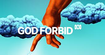 Cartoon hand pointing through two blue clouds. (God Forbid program logo)