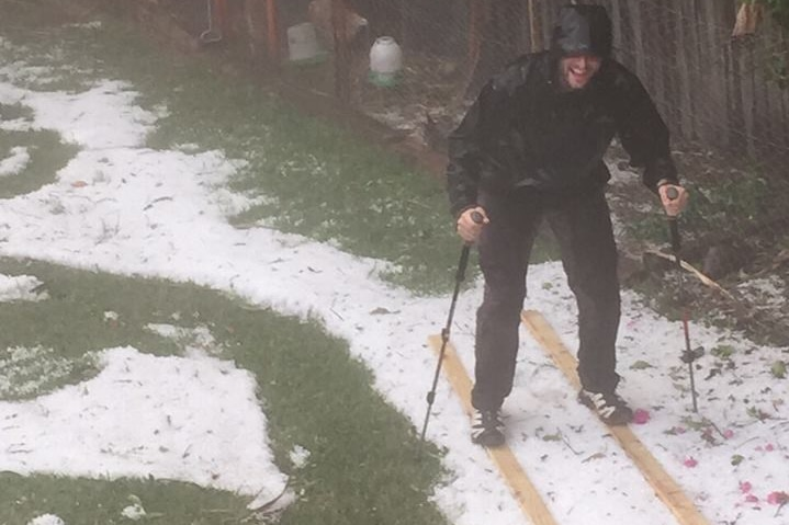 Skiing in hail at Haberfield, Sydney on April 25, 2015
