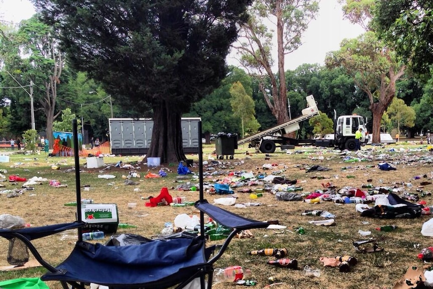 Rubbish scattered at Edinburgh Gardens in Melbourne following an out-of-control party on New Year's Eve.